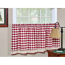 Buffalo Check 24-Inch Kitchen Window Curtain Tier Pair in Burgundy