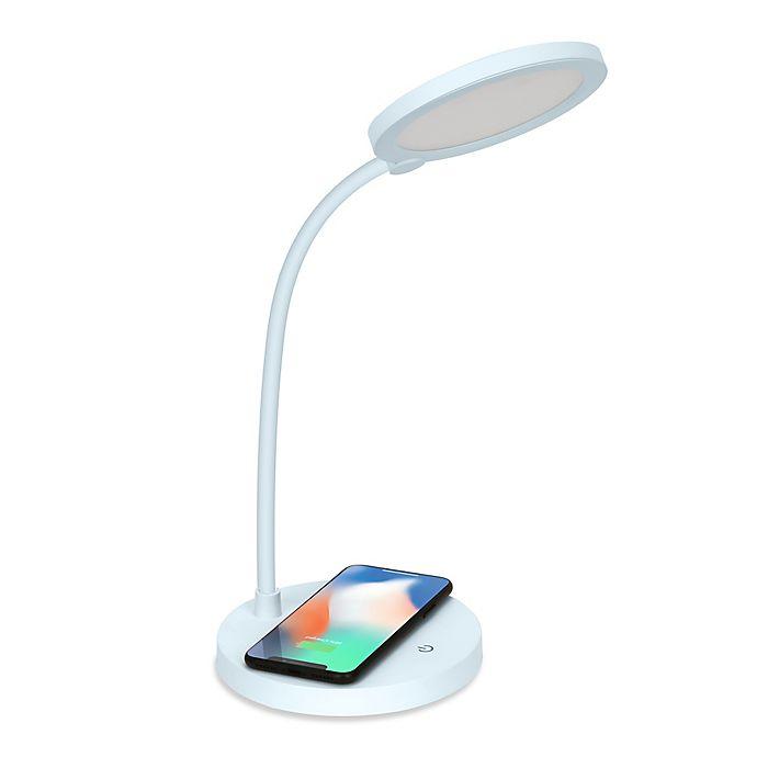 Alternate image 1 for iHome® Led Desk Lamp with Flex Neck & 5-Watt Qi Wireless Charging in White