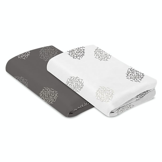 Alternate image 1 for 4moms® Breeze® 2-Pack Cotton Playard Sheets in Grey/White