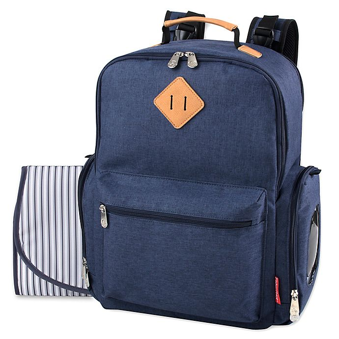 Alternate image 1 for Fisher-Price® River Denim Diaper Backpack in Blue