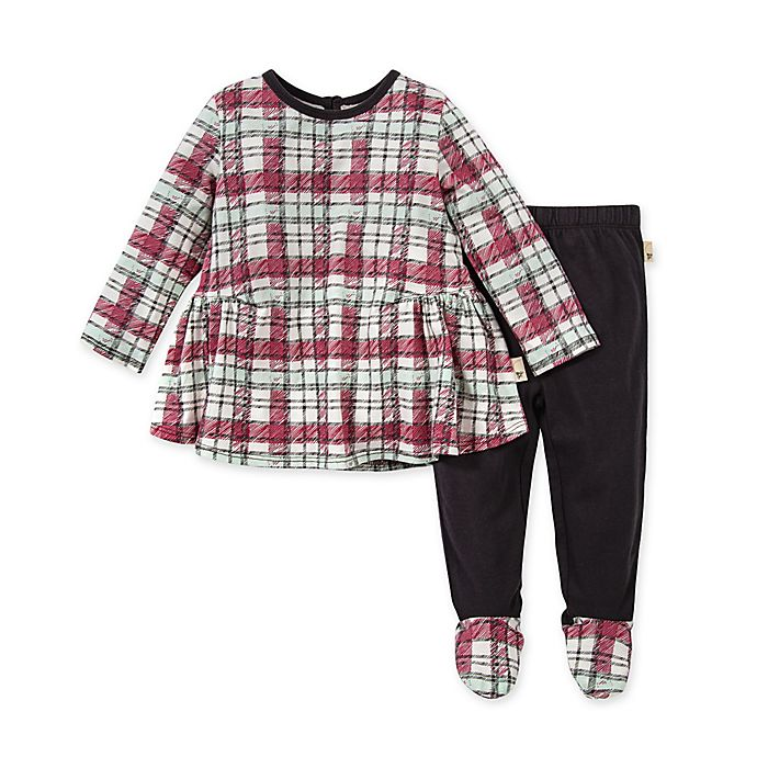 Alternate image 1 for Burt's Bees Baby® Cozy Harvest 2-Piece Plaid Organic Cotton Tunic and Pant Set
