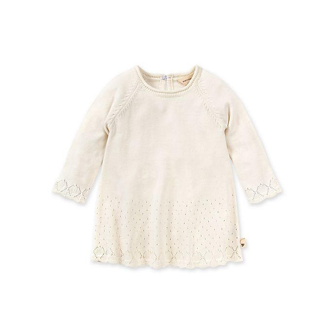 Alternate image 1 for Burt's Bees Baby® Size 0-3M Lacy Knit Organic Cotton Sweater Dress in Eggshell
