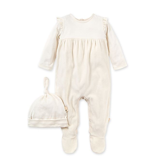 Alternate image 1 for Burt's Bees Baby® 2-Piece Velour Organic Cotton Jumpsuit and Hat Set