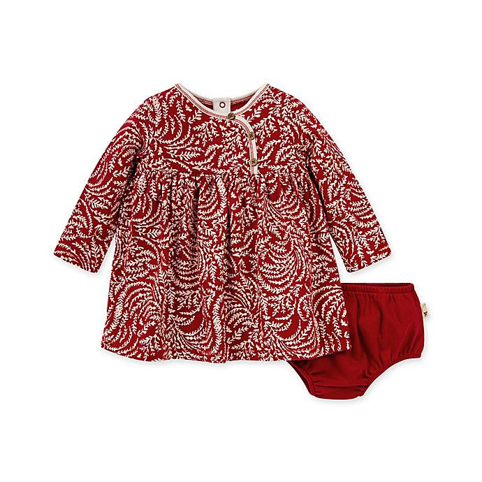 Alternate image 1 for Burt's Bees Baby® 2-Piece Swirly Twigs Organic Cotton Dress and Diaper Cover Set