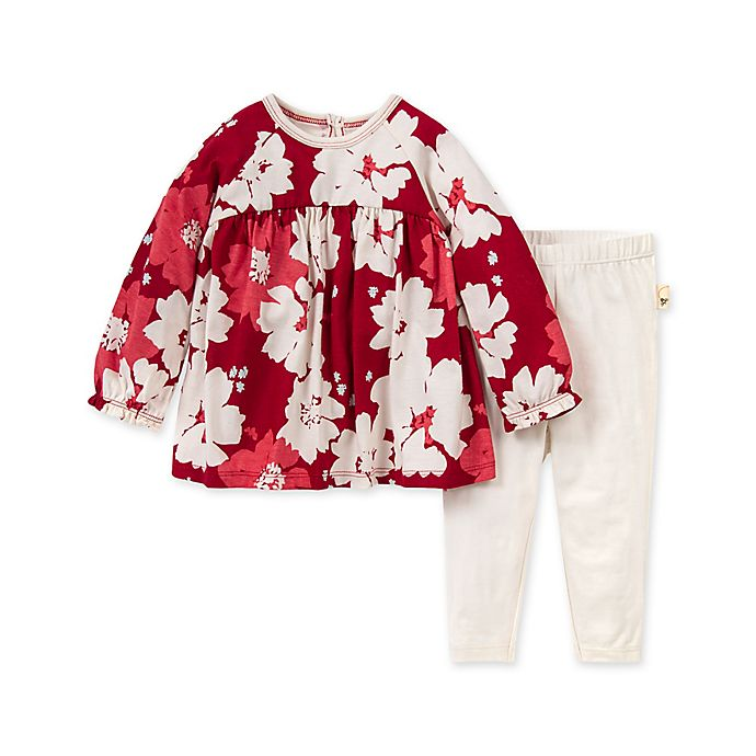 Alternate image 1 for Burt's Bees Baby® Newborn 2-Piece Sprinkling Petals Tunic and Legging Set