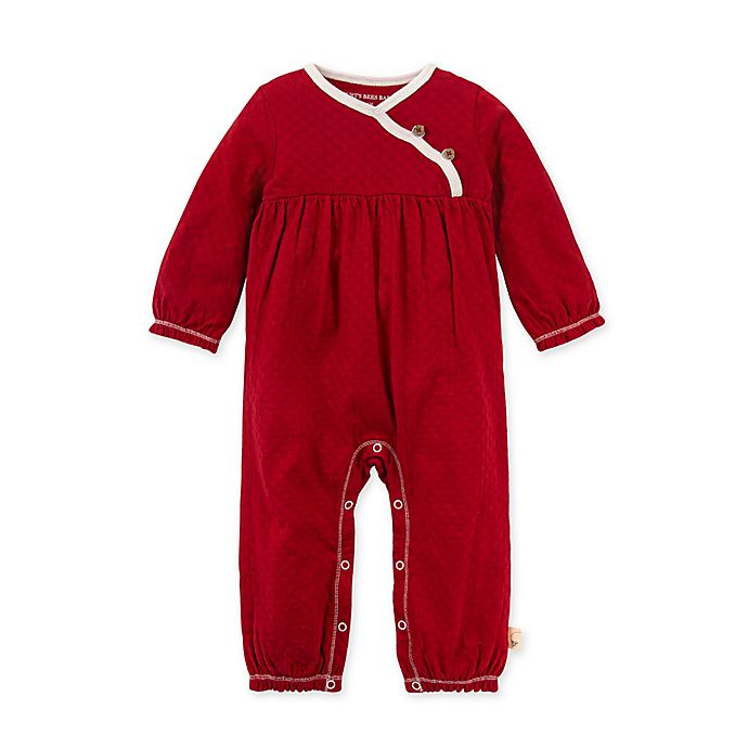 Alternate image 1 for Burt's Bees Baby® Honeycomb Pointelle Organic Cotton Jumpsuit in Cranberry