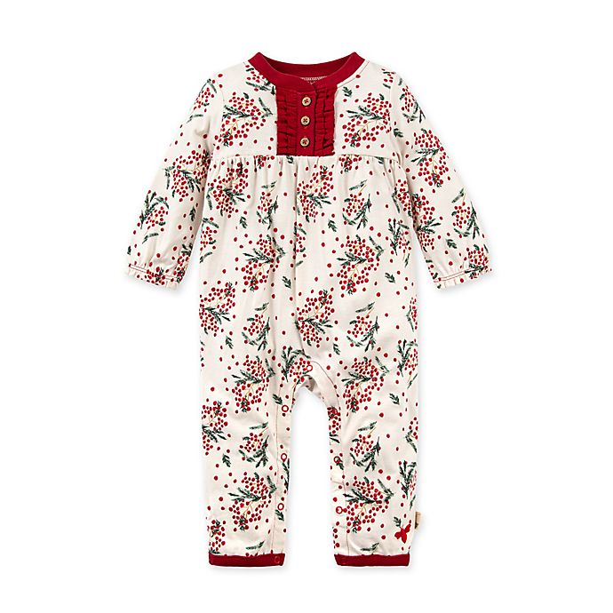 Alternate image 1 for Burt's Bees Baby® Berry and Bright Organic Cotton Jumpsuit in Eggshell