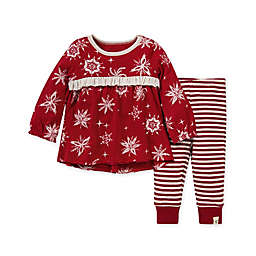Burt's Bees Baby® 2-Piece Vintage Snowflakes Tunic and Legging Set in Cranberry