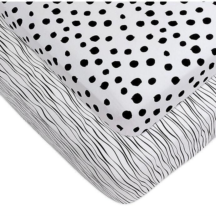 Alternate image 1 for Ely's & Co.® 2-Pack Abstract Jersey Crib Sheets in Black