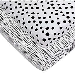 Ely's & Co.® 2-Pack Abstract Jersey Crib Sheets in Black