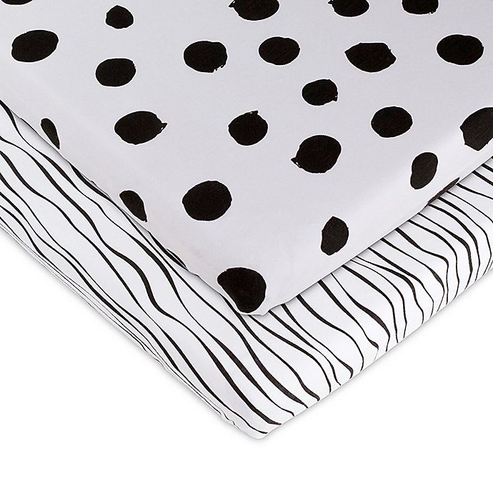 Alternate image 1 for Ely's & Co.® 2-Pack Abstract Bassinet Sheets in Black
