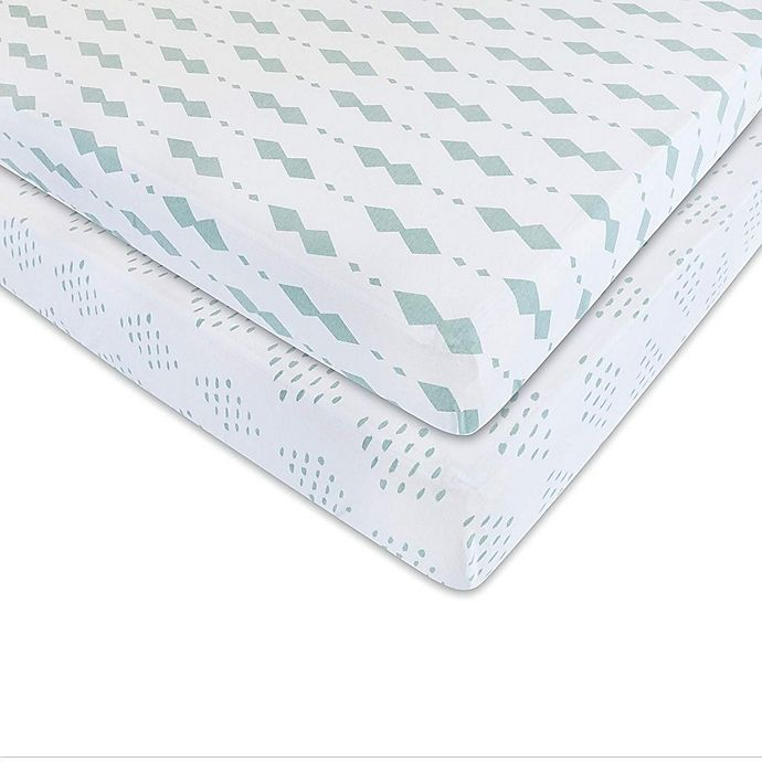 Alternate image 1 for Ely's & Co. 2-Pack Diamonds Jersey Cotton Crib Sheets in Sage