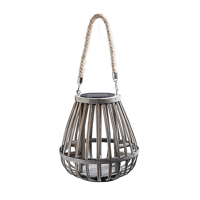 Alternate image 1 for Bee & Willow™ Home Solar Small Bamboo Lantern in Grey