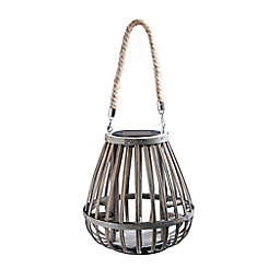 Bee & Willow™ Home Solar Small Bamboo Lantern in Grey