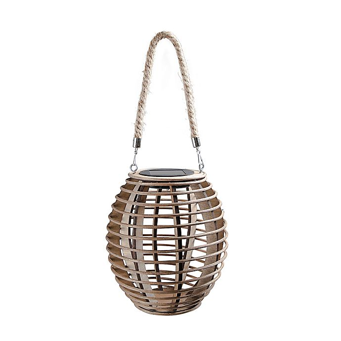 Alternate image 1 for Bee & Willow™ Home Solar Medium Bamboo Lantern in Brown