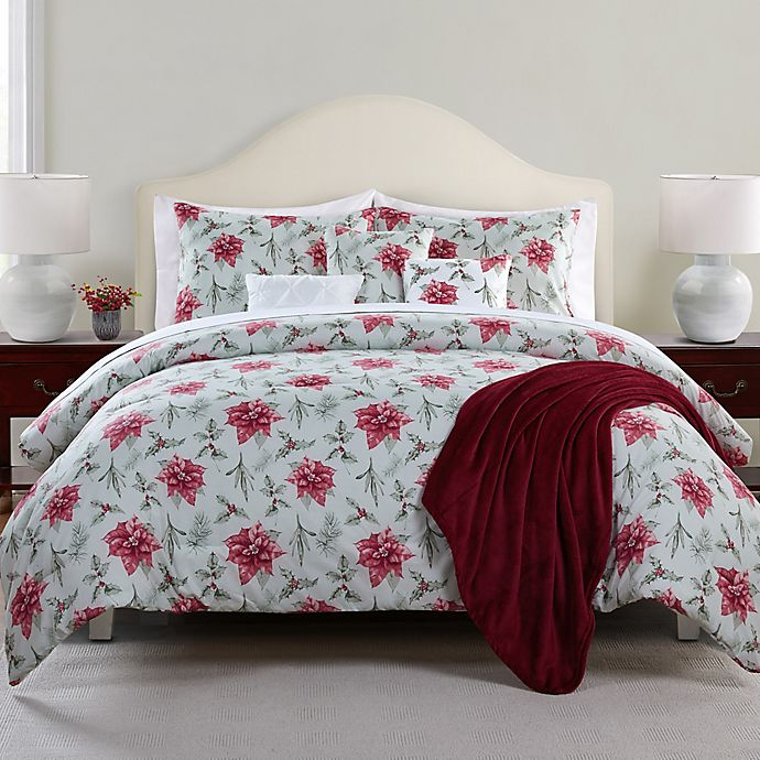 Alternate image 1 for Antique Poinsettia 7-Piece Reversible Comforter Set