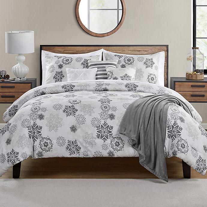 Alternate image 1 for Snowflakes Stencil 7-Piece Reversible Comforter Set