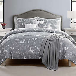 Reindeer Prance 7-Piece Reversible Full/Queen Comforter Set in Grey/White