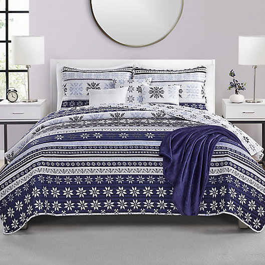 Alternate image 1 for VCNY Home Fair Isle 7-Piece Reversible Quilt Set