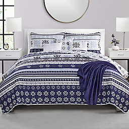 VCNY Home Fair Isle 7-Piece Reversible Full/Queen Quilt Set in Blue/White