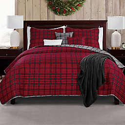 Checkmate 7-Piece Reversible Full/Queen Quilt Set in Red/Grey