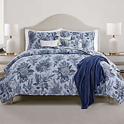 Pines and Flowers 7-Piece Reversible Full/Queen Quilt Set in Grey/Blue