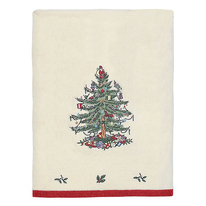 Alternate image 1 for Avanti Spode Christmas Tree Bath Towel in Red
