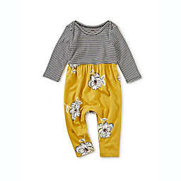 Tea Collection Flowers and Stripes Romper in Mustard/Black