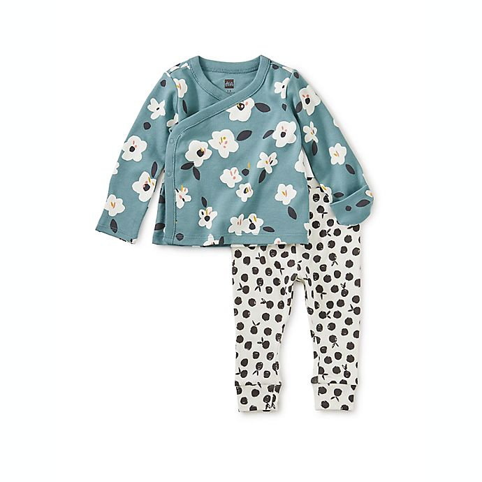 Alternate image 1 for Tea Collection 2-Piece Floral Wrap Top and Pant Set in Teal