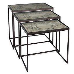 Ridge Wood Decor 3-Piece Nesting Accent Table Set in Grey