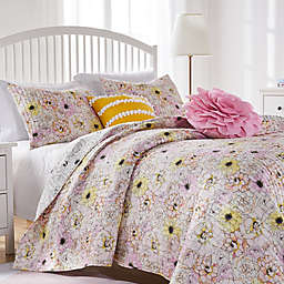 Misty Bloom Twin/Twin Extra Long Quilt Set in Pink