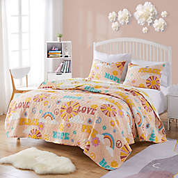 Cassidy Twin/Twin Extra Long Quilt Set in Peach