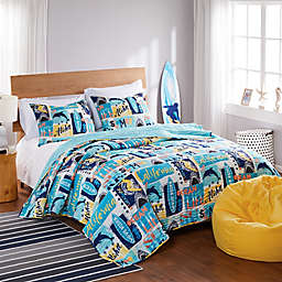 Wave Rider 2-Piece Twin/ Twin XL Quilt Set in Blue