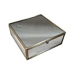 W Home Mirrored Glass Keepsake Box in Gold