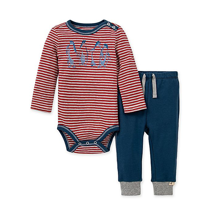 Alternate image 1 for Burt's Bees Baby® 2-Piece Penguin Pals Organic Cotton Bodysuit and Pant Set
