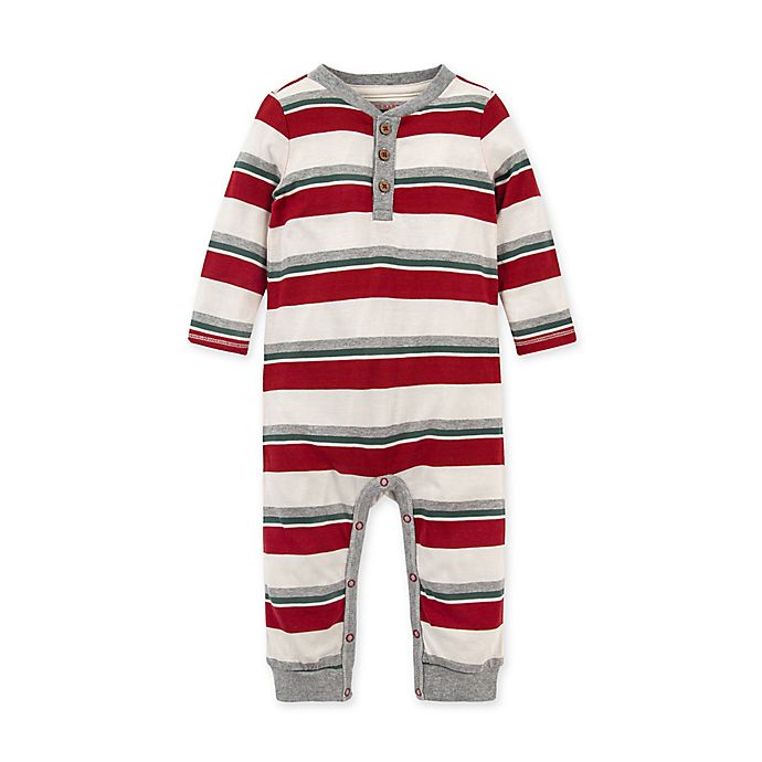 Alternate image 1 for Burt's Bees Baby® Foothills Stripe Henley Organic Cotton Coverall