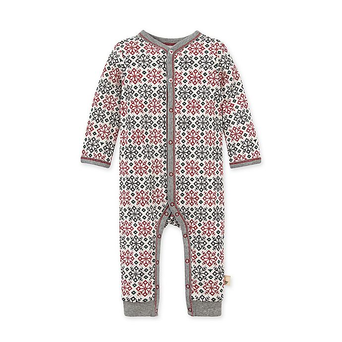 Alternate image 1 for Burt's Bees Baby® Size 3M Snowflake Fair Isle Organic Cotton Coverall