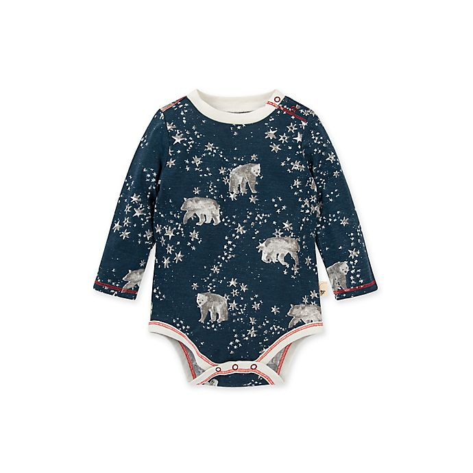 Alternate image 1 for Burt's Bees Baby® Polar Bear Stars Organic Cotton Long Sleeve Bodysuit in Blue