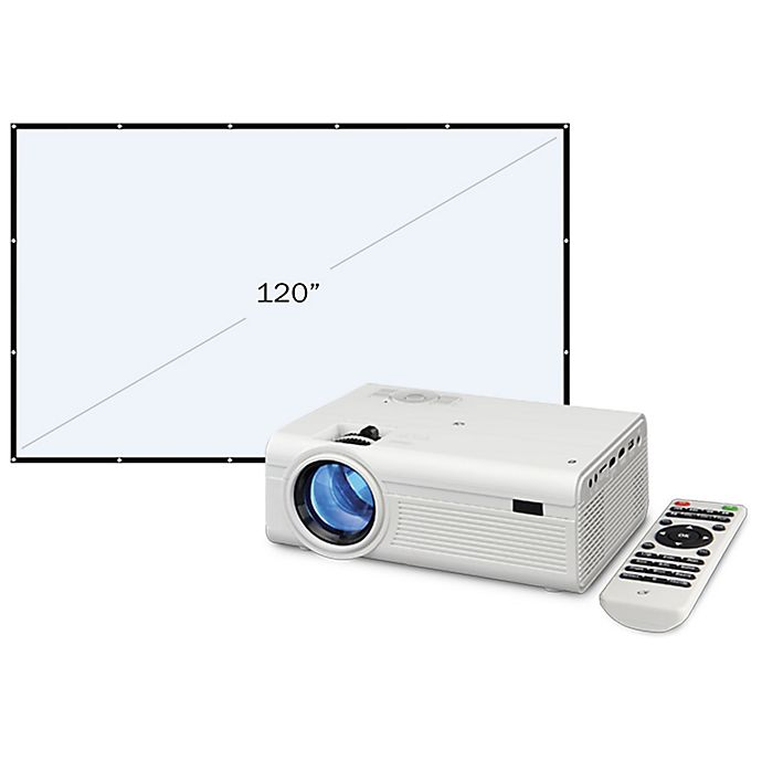 Alternate image 1 for GPX® Mini Projector with Projection Screen in White