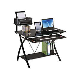 "43"" X 24"" X 36"" Black Glass Computer Desk"
