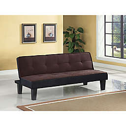 Flannel Upholstered Sofa Bed in Chocolate