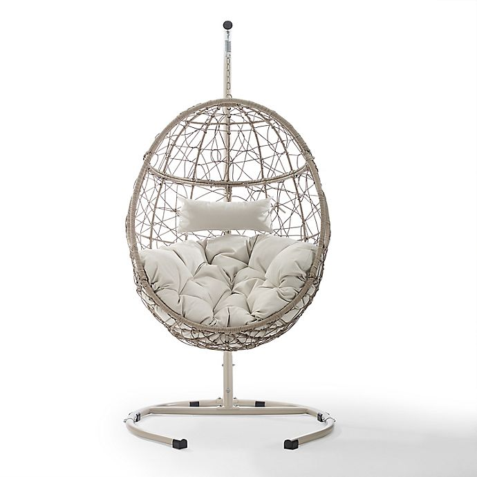 Alternate image 1 for Crosley Cleo All-Weather Wicker Hanging Egg Chair in Light Brown