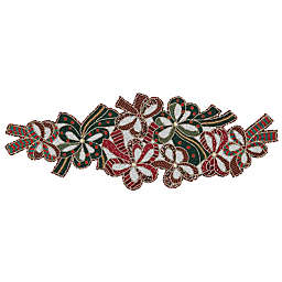 Saro Lifestyle Beaded Christmas Bow 36-Inch Table Runner in Red