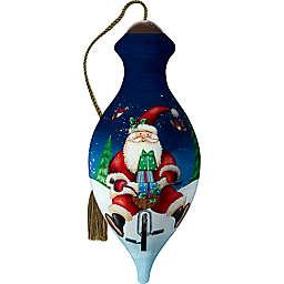 Ne'Qwa® Santa Peddling Fun 4-Inch Glass Christmas Ornament in Blue/White