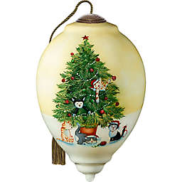 Ne'Qwa Art® Christmas Tree Cats 5.5-Inch Glass Christmas Ornament in Off White