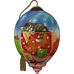 Ne'Qwa Art® Christmas Kitten 3-Inch Glass Christmas Ornament