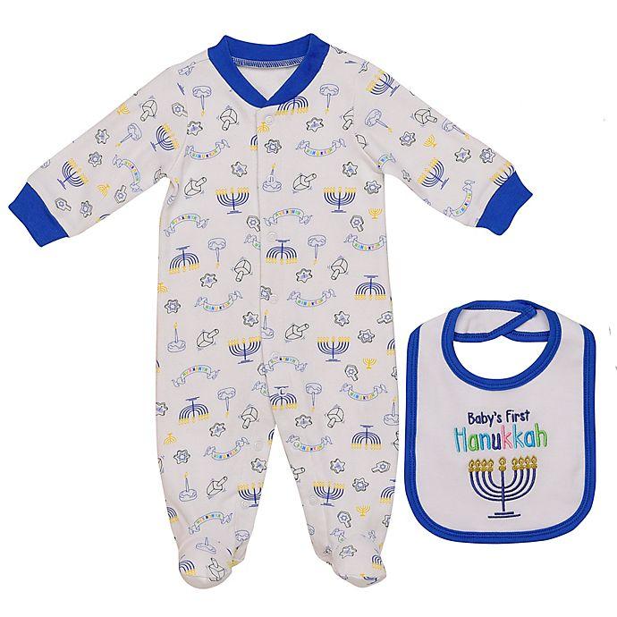 Alternate image 1 for Baby Starters® Newborn 2-Piece Hanukkah Footie and Bib Set in White