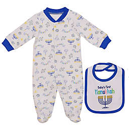 Baby Starters® Size 3M 2-Piece Hanukkah Footie and Bib Set in White