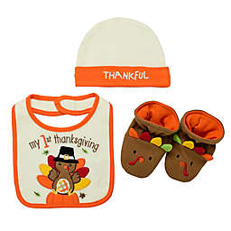 Baby Starters® 3-Piece Thanksgiving Hat, Bib, and Bootie Set in Ivory