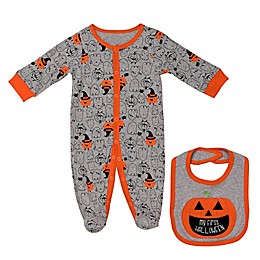 Baby Starters® 2-Piece Pumpkin Footie and Bib Set in Grey